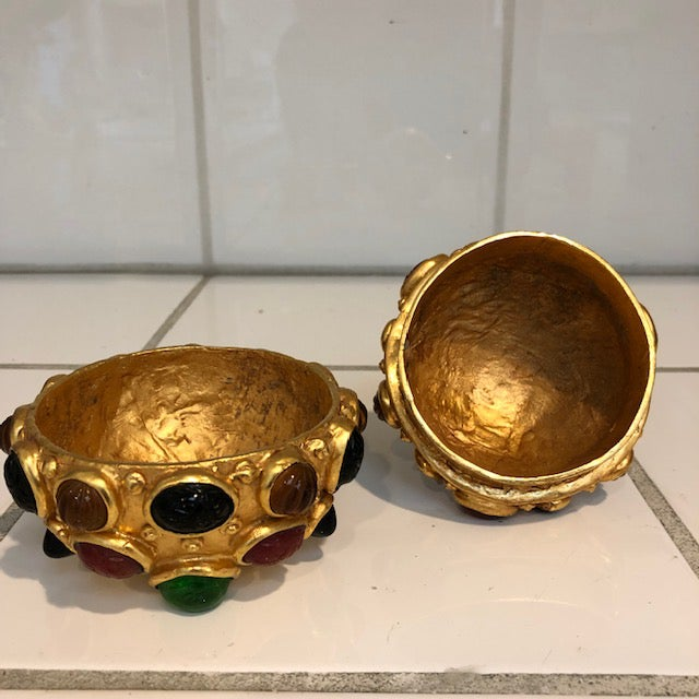 Gold Orb Box With Cabochon Jewels For Sale In Los Angeles - Image 6 of 10