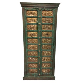 Antique Moroccan Brass Floral Carved Green Patina Armoire Storage Cabinet For Sale