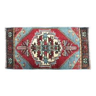 Vintage Turkish Handmade Red and Blue Small Rug For Sale