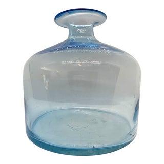 Vintage Hand Blown Coastal Blue Bottle Vase For Sale
