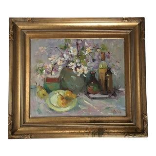 Vase of Flowers With Pears and Wine Painting by K. Bugreyev For Sale