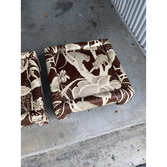 Vintage Cheetah Print Ottomans - a Pair For Sale - Image 4 of 8