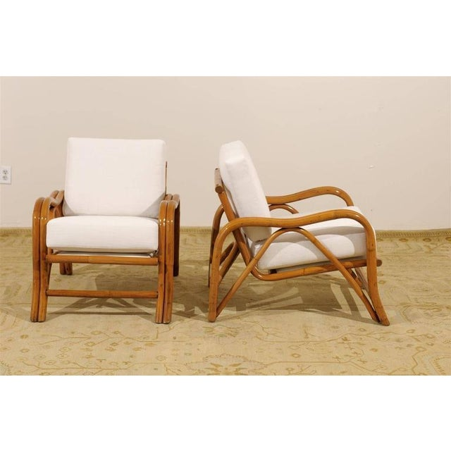 Mid-Century Modern Fantastic Pair of Restored Vintage Modern Rattan Loungers For Sale - Image 3 of 8