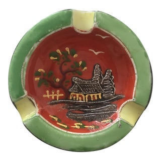 Vintage Hand Painted Ceramic Ashtray Made in Japan For Sale