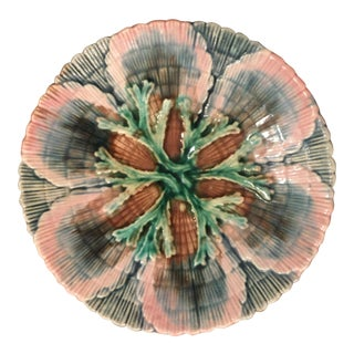 Etruscan Majolica Shell Seaweed Bread Plate/Saucer For Sale