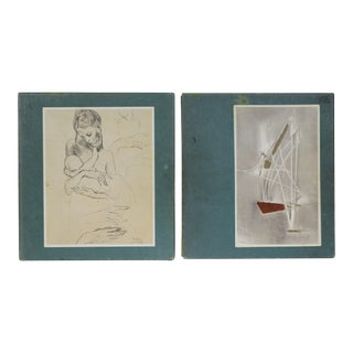 Twentieth Century Drawings, S/2 For Sale