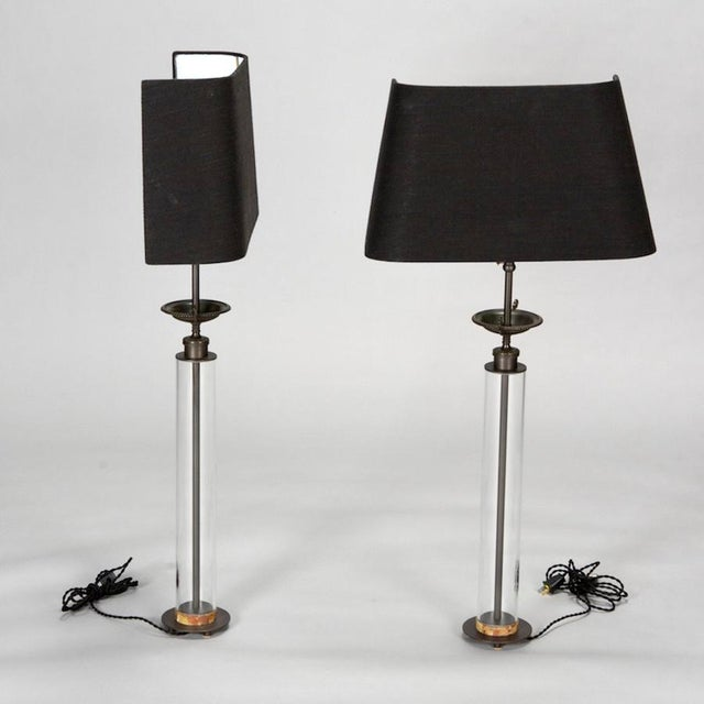 Mid-Century Modern Custom Belgian Glass Column Lamps With Bronze Fittings - Pair For Sale - Image 3 of 7