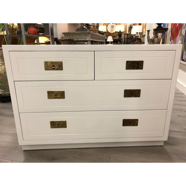 Pair of Campaign Style Chest by Henredon Home Furniture For Sale In New York - Image 6 of 9