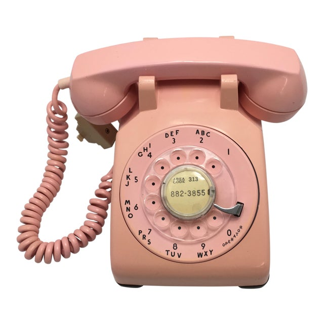 1962 Vintage Pink Rotary Dial Telephone For Sale
