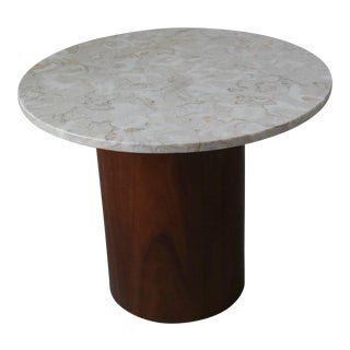 Round Marble and Walnut Drum Side Table For Sale