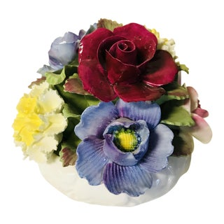 1900s Mid-Century Modern John Aynsley Capodimonte Porcelain Flower Arrangement