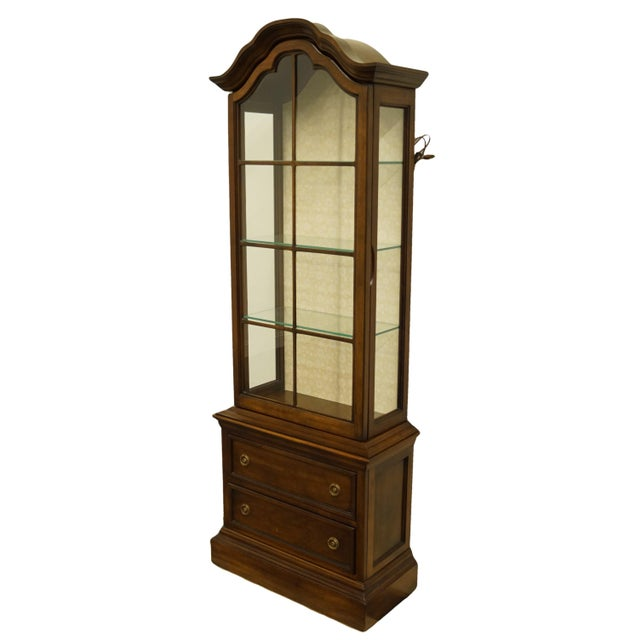 """Brandt Furniture Country French 25"""" illuminated curio display cabinet with bonnet top. We specialize in high end used..."""