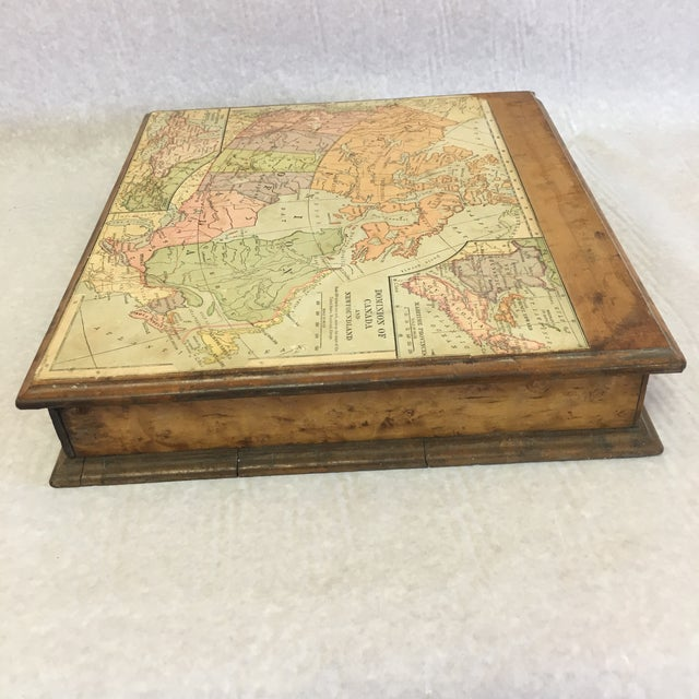 Vintage Wooden Drawer With Map For Sale - Image 4 of 9