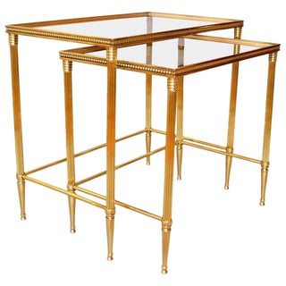 Two Maison Jansen French Brass Nesting Tables For Sale