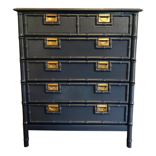 Hale Navy Blue Lacquered Faux Bamboo Highboy For Sale