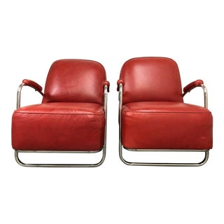 Mitchell Gold & Bob Williams Dean II Red Leather Arm Chairs- a Pair For Sale