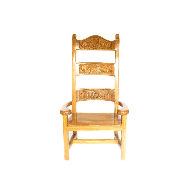 1990s Abstract Railroad Hand Carved Yellow Jarrah Wood King Throne For Sale - Image 4 of 5