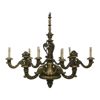 Italian Carved Wood and Gilt Chandelier For Sale