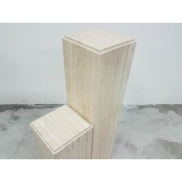 1970s Pair of Square Vintage Italian Travertine Tiered Display Pedestals For Sale - Image 5 of 6