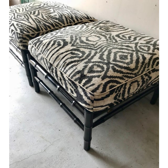 Mid 20th Century Black Bamboo Stools With Zebra Print Poufs - a Pair For Sale - Image 5 of 7