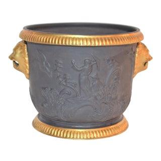 Vintage Black Basalt Mottahedeh Chinoiserie Cachepot For Sale