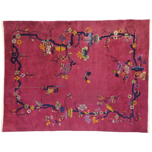 1920s Antique Chinese Art Deco Rug - 8′10″ × 11′7″ For Sale - Image 9 of 10