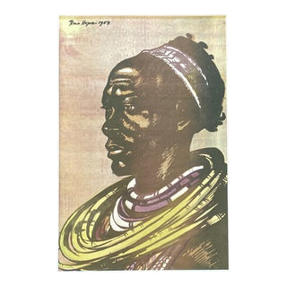 """1953 """"Jeweled Basuto Woman"""" Rosa Hope South African Figurative Lithograph For Sale"""