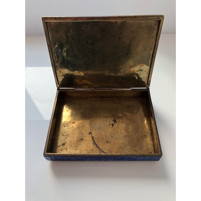 Blue 1960s Vintage Salvador Teran Mexican Modernist Brass and Glass Mosaic Box For Sale - Image 8 of 11