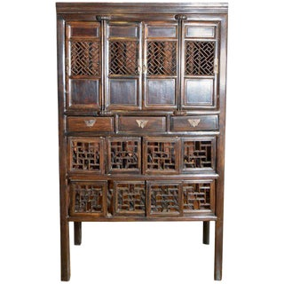 19th Century Chinese Stained Three Drawer Cabinet With Fretwork Doors For Sale