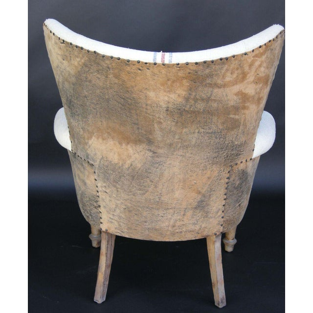 Custom Lambskin and Vintage Linen Chairs - Image 5 of 8