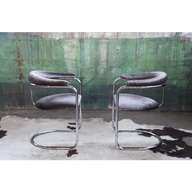 Mid Century Modern Anton Lorenz for Thonet Bent Chrome Cantilever Chairs - a Pair For Sale - Image 9 of 12