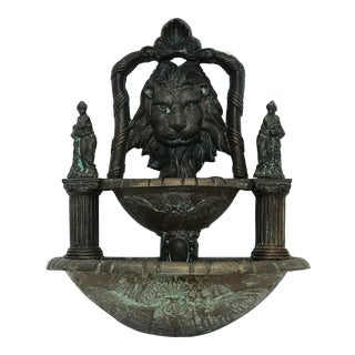 Antique Metal Wall Fountain For Sale