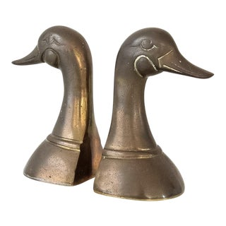 Mid Century Brass Duck Book Ends