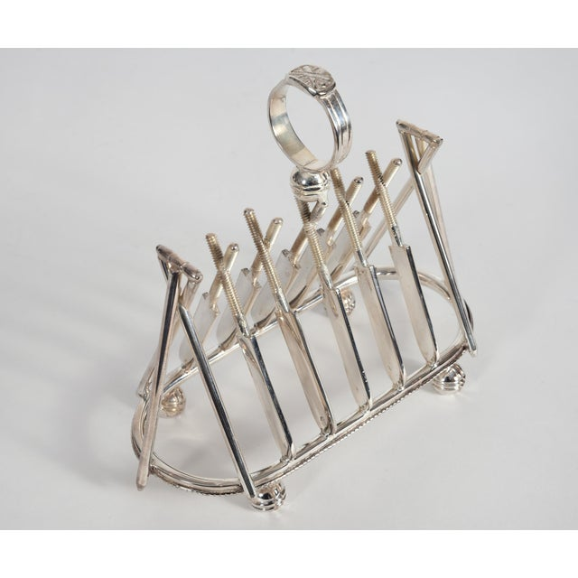 Vintage English Silver Plate Cricket Sport Design Toast Rack For Sale - Image 4 of 10
