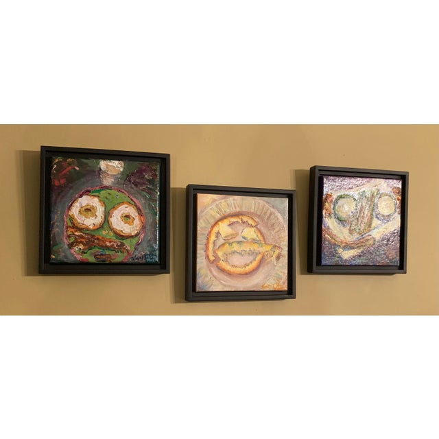 """""""Breakfast, Lunch, and Dinner"""" Contemporary Still Life Oil Paintings, Framed - Set of 3 For Sale - Image 4 of 5"""