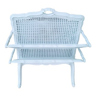 French Provincial Large White Cane Wicker and Wood 2 Tiered Magazine Rack Stand For Sale
