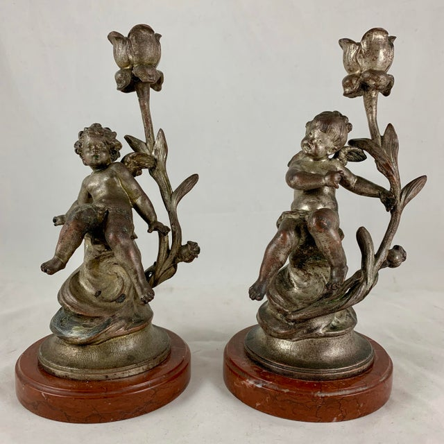 French Putti Cherub Metal & Marble Candlesticks Signed Sylvan Kinsburger, a Pair For Sale - Image 13 of 13