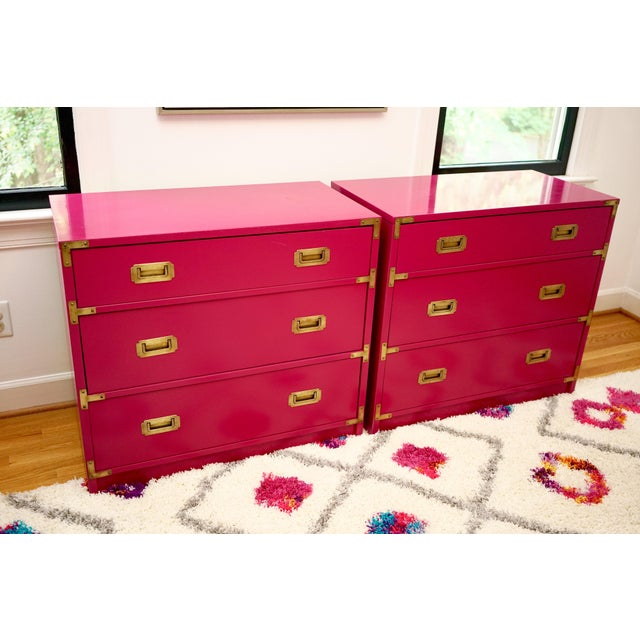 Pink Campaign Lacquered Fuschia Bachelors Chests - a Pair For Sale - Image 8 of 13