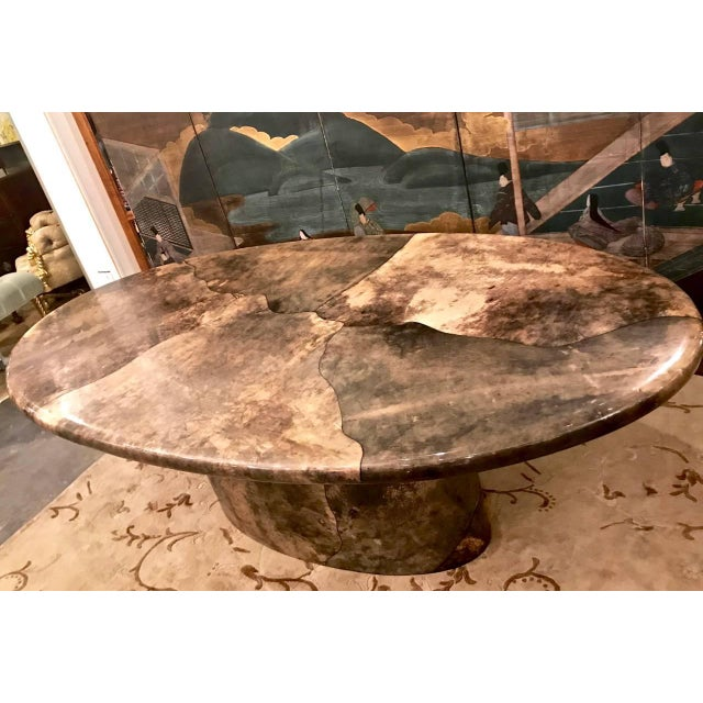 Mid-Century Modern Aldo Tura Goat Skin Dining Table For Sale - Image 3 of 6
