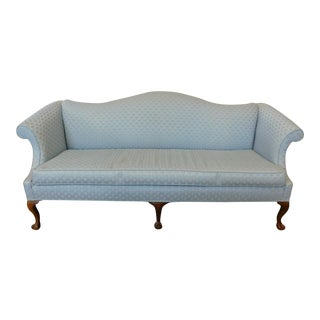 1990s Very Clean Blue Upholstered Camel Back Chippendale Style Sofa