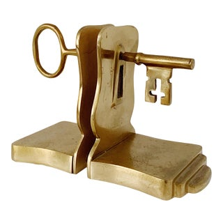 "1970s Vintage ""Key"" Brass Bookends - a Pair For Sale"