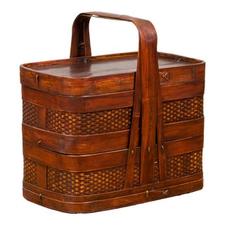 Chinese Vintage Two-Tiered Bamboo and Rattan Lunch Basket with Large Handle For Sale