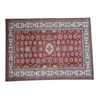 Hand-Knotted Wool Red Kazak Geometric Design Rug- 9′ × 12′4″ For Sale