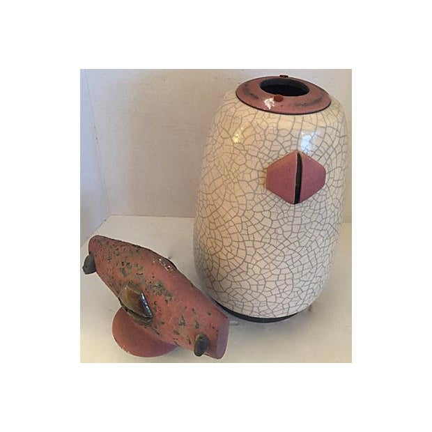 Ceramic Signed Artistic Pottery Vase with Lid For Sale - Image 7 of 8