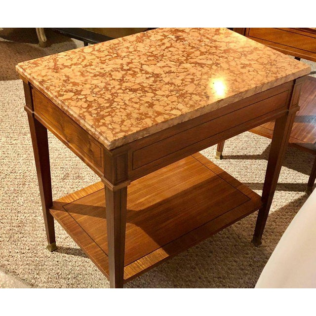 Brown Pair of Maison Jansen Style Marble-Top Single Drawer Nightstands or End Tables For Sale - Image 8 of 13