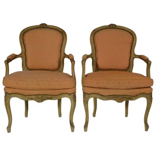 Pair of Louis XV Carved and Crème Peinte Fauteuils For Sale