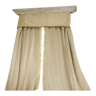 Antique French Raw Silk Curtains & Valance, 1930s - 3 Pieces For Sale