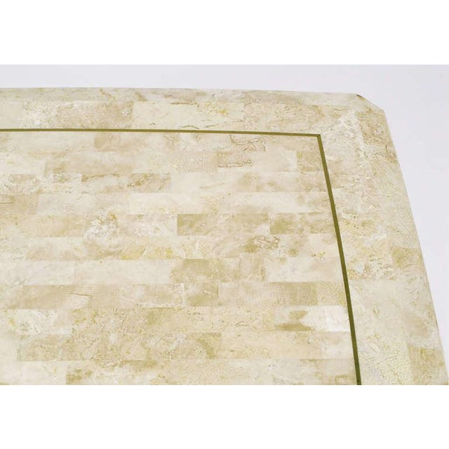 Tessellated Fossil Stone & Brass Inlaid Coffee Table For Sale In Chicago - Image 6 of 7