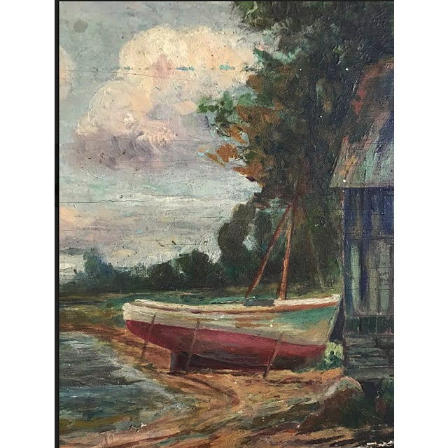 Mid 20th Century Painting - Vintage Landscape With Boats Painting For Sale - Image 5 of 6