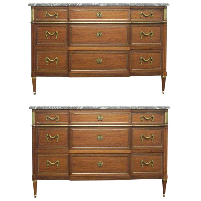 Pair of French Louis XIV Style Marble Top Dressers Commodes For Sale